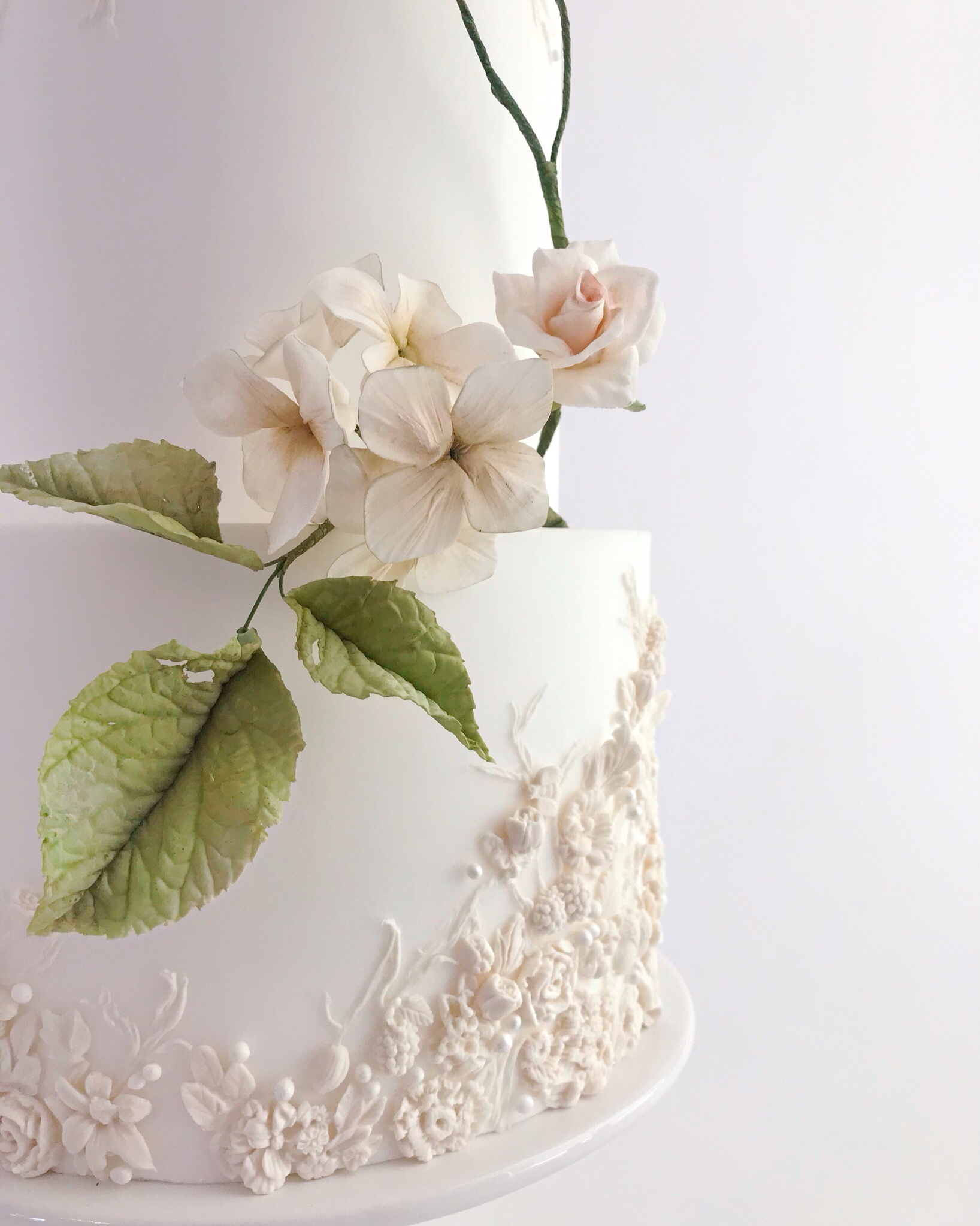 Sugar Flower Bas-Relief Wedding Cake