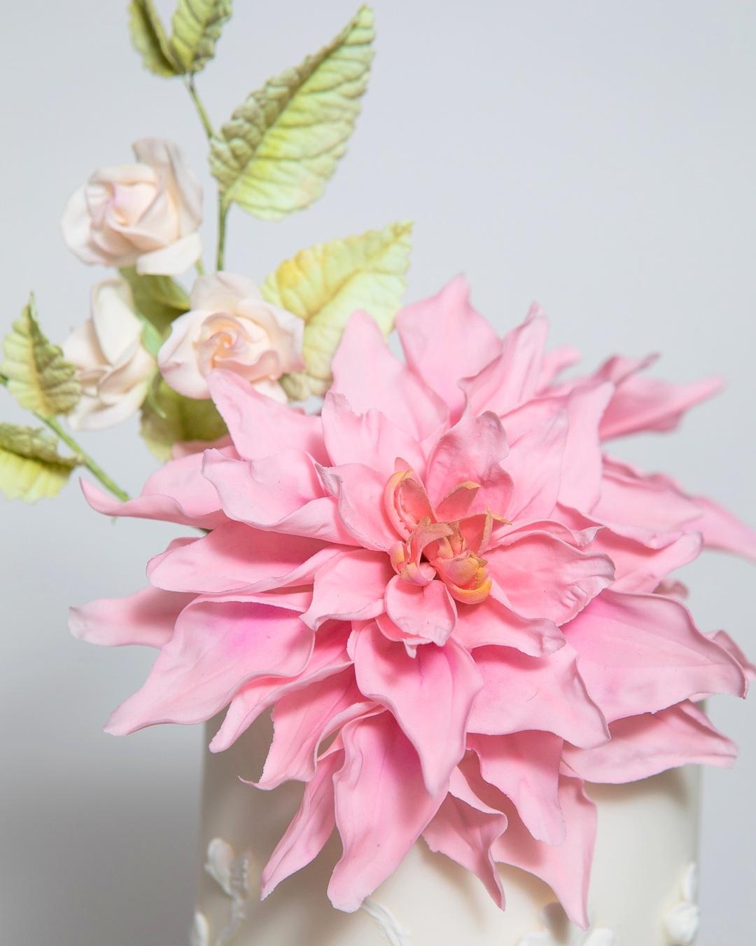 Bas Relief Pink Dahlia Blush Rose Wedding Cake