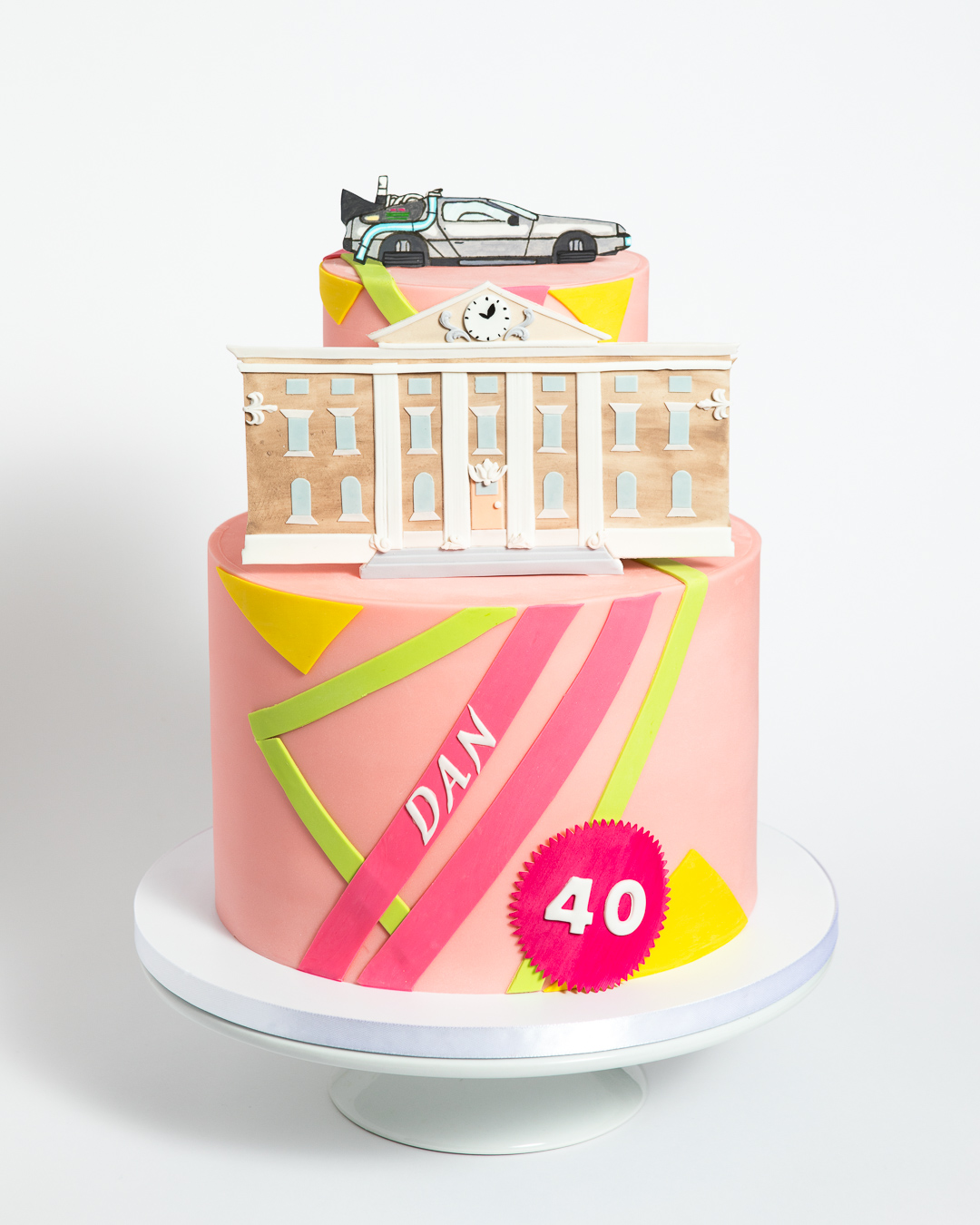 Back to the Future 40th Birthday Cake with DeLorean and Hoverboard Pattern