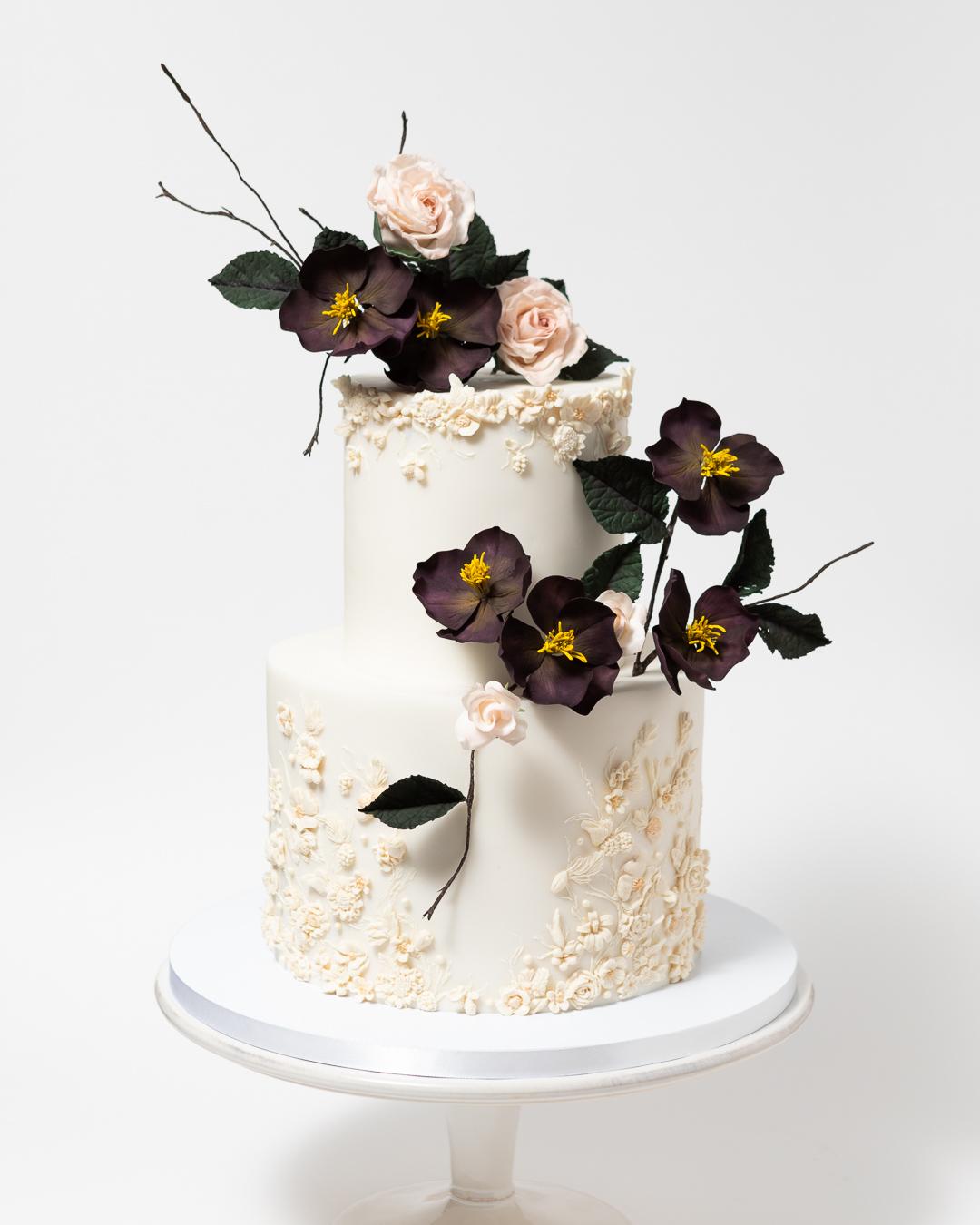 Dark Hellebores Bas Relief Wedding Cake
