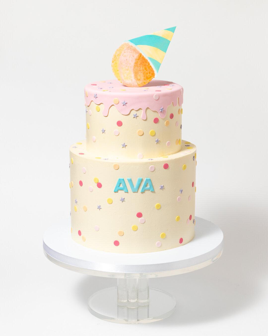 Sno Cone Watercolor Polka Dot Birthday Cake