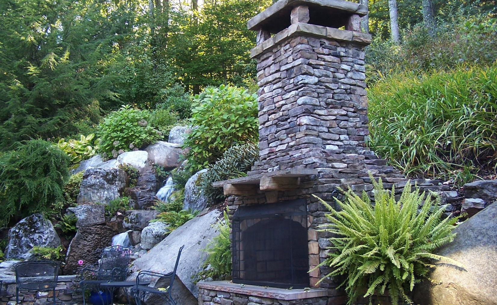 Westchester County, NY swimming pool patio and outdoor fireplace