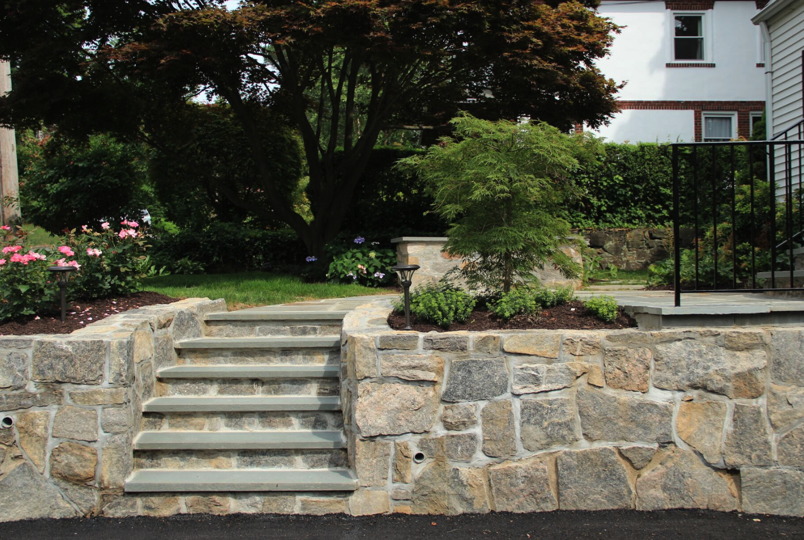 Westchester County, NY natural stone retaining wall and steps