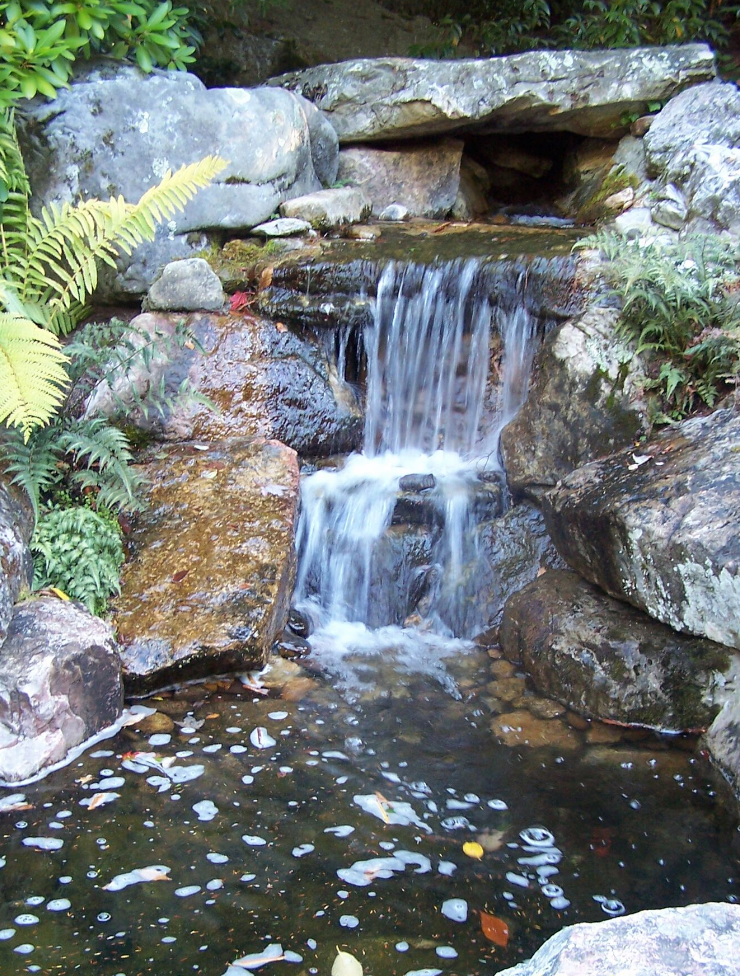 Westchester County, NY custom masonry design steps water fountain and pond