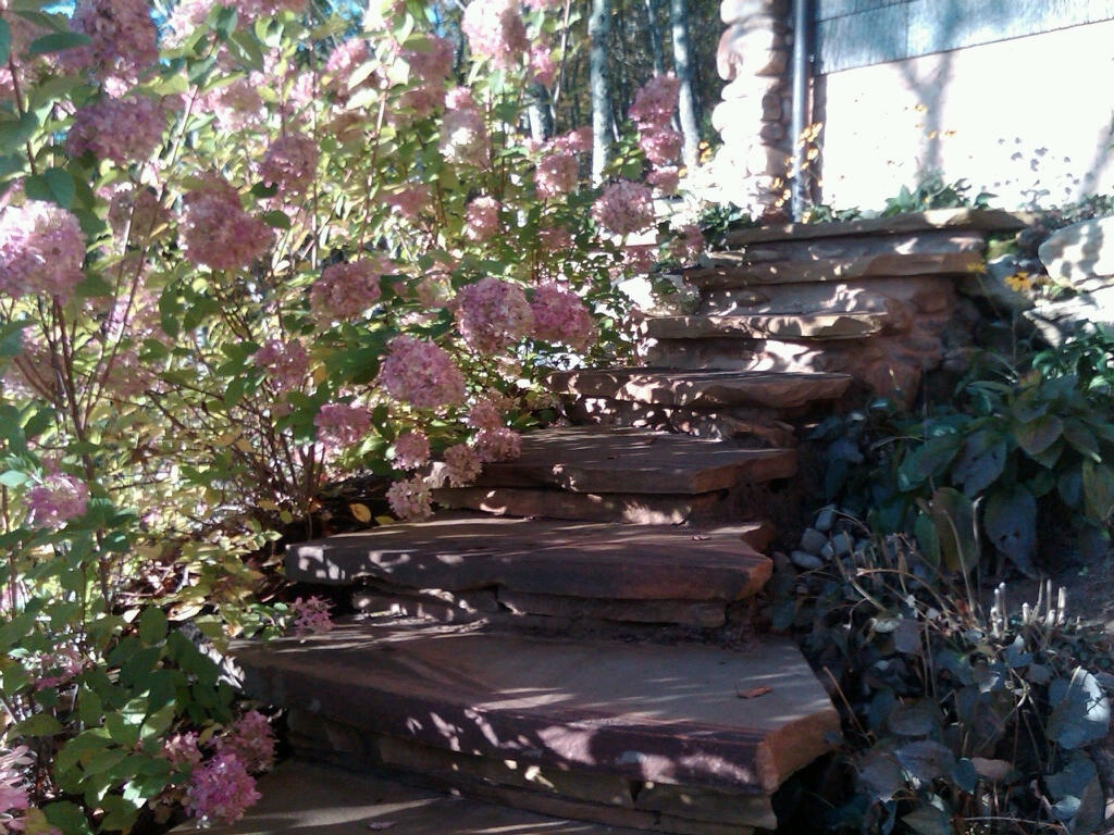 Professional landscape design with stone steps in Garrison, NY