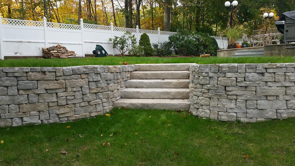 Rosetta stone steps and wall in Cortlandt Manor, NY