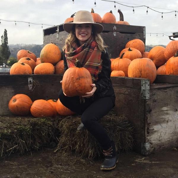 Pumpkin picking at Bella Organic Farm in Portland on Halloween.