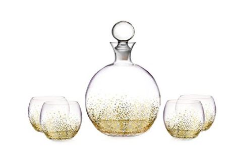 5 Piece Gold Luster Decanter Set