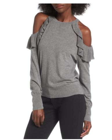 BP Ruffle Cold Shoulder Sweater