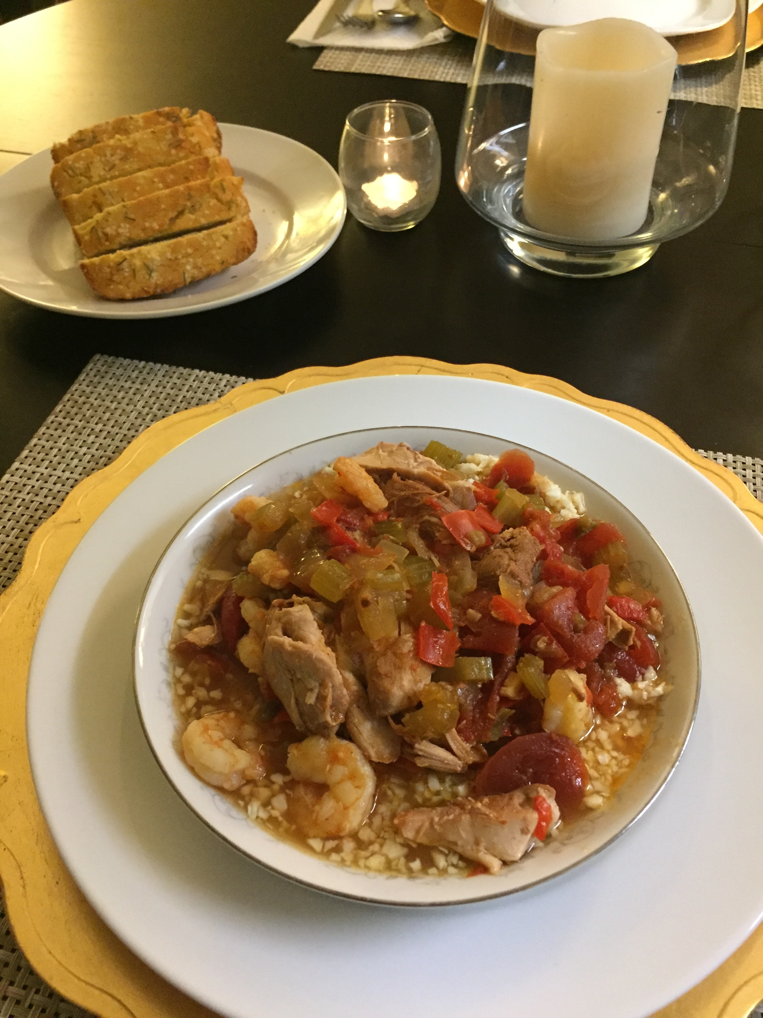 Slow Cooker Cajun Chicken & Shrimp with Riced Cauliflower - Paleo & Whole 30