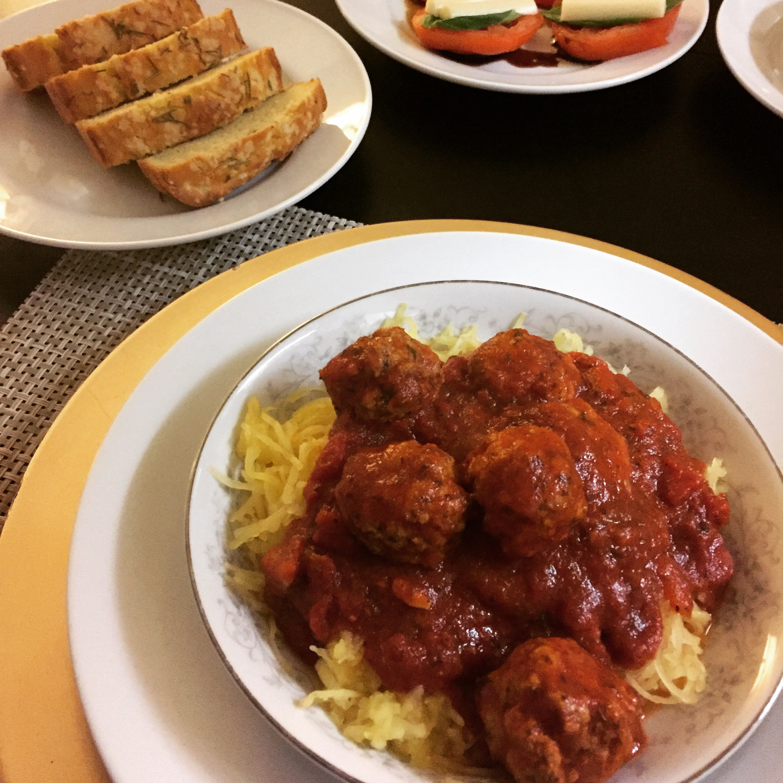 Turkey Meatballs & Spaghetti Squash - Paleo & Whole 30