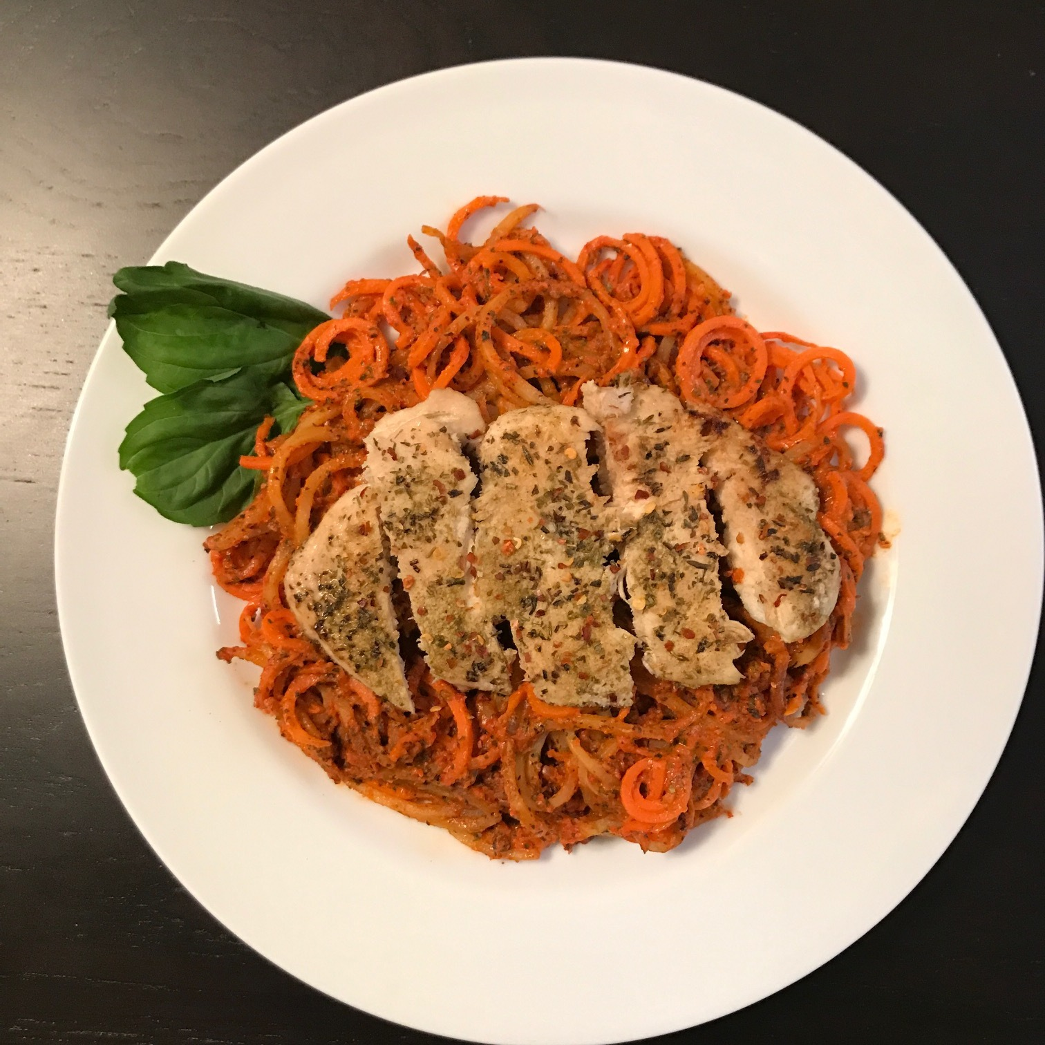 Roasted Red Pepper & Basil Pasta with Chicken with Spiralized Sweet Potato - Paleo & Whole 30