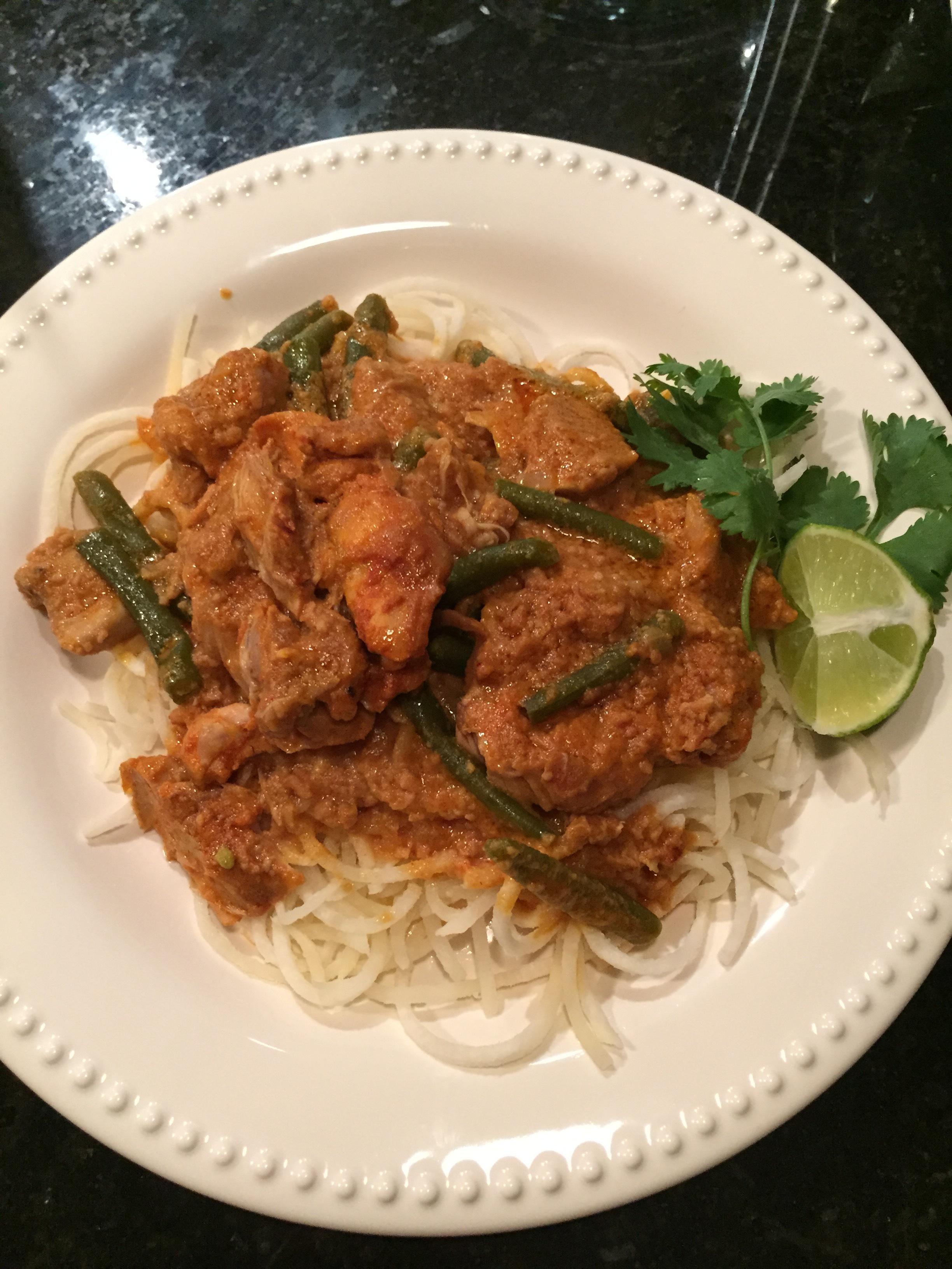 Slow Cooker Chicken Tikka Masala with Spiralized Jicama - Paleo & Whole 30