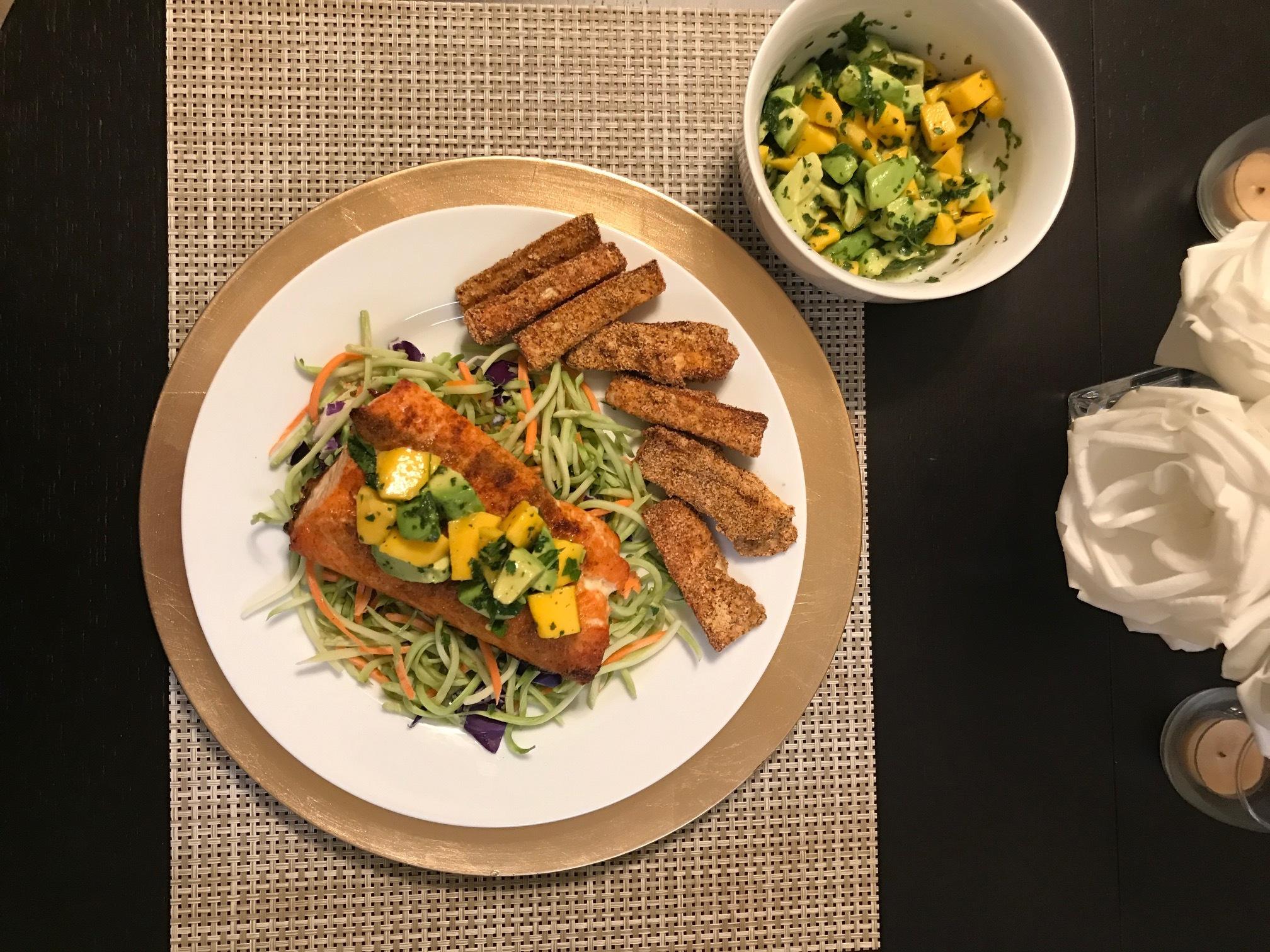 Baked Salmon with Avocado Mango Salsa - Paleo & Whole 30