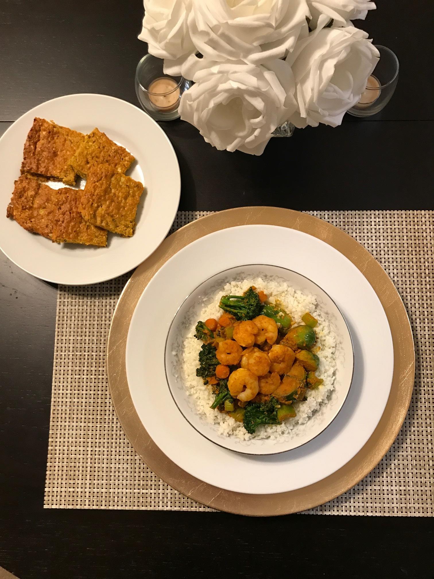 Turmeric Shrimp Stir Fry with Riced Cauliflower - Paleo & Whole 30