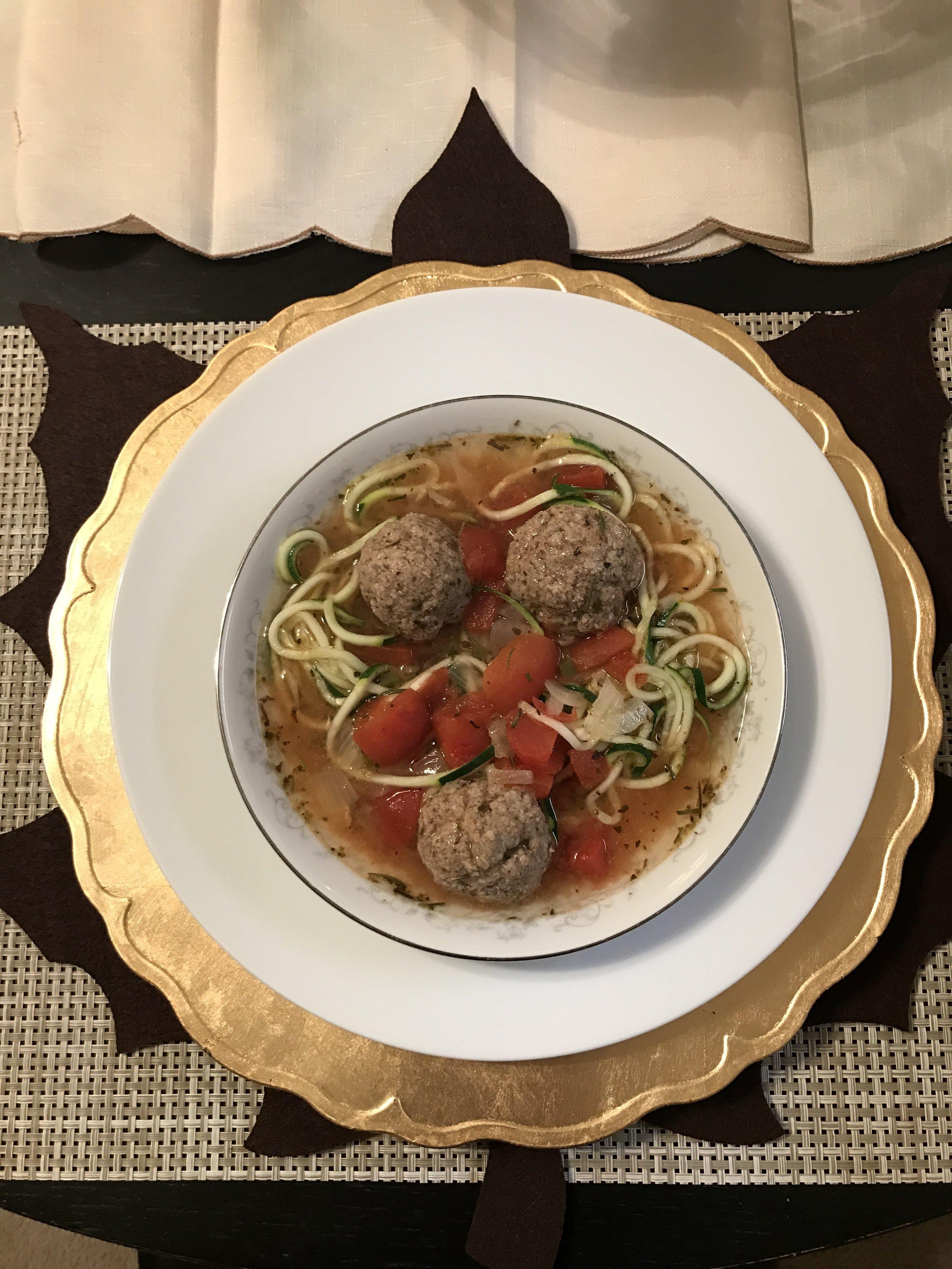 Turkey Meatball Soup w/ Zucchini Noodles - Paleo & Whole 30
