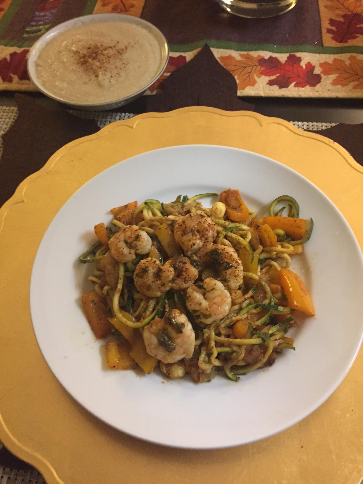 Cilantro Lime Shrimp with Zucchini Pasta & Cauliflower Soup - Paleo & Whole 30