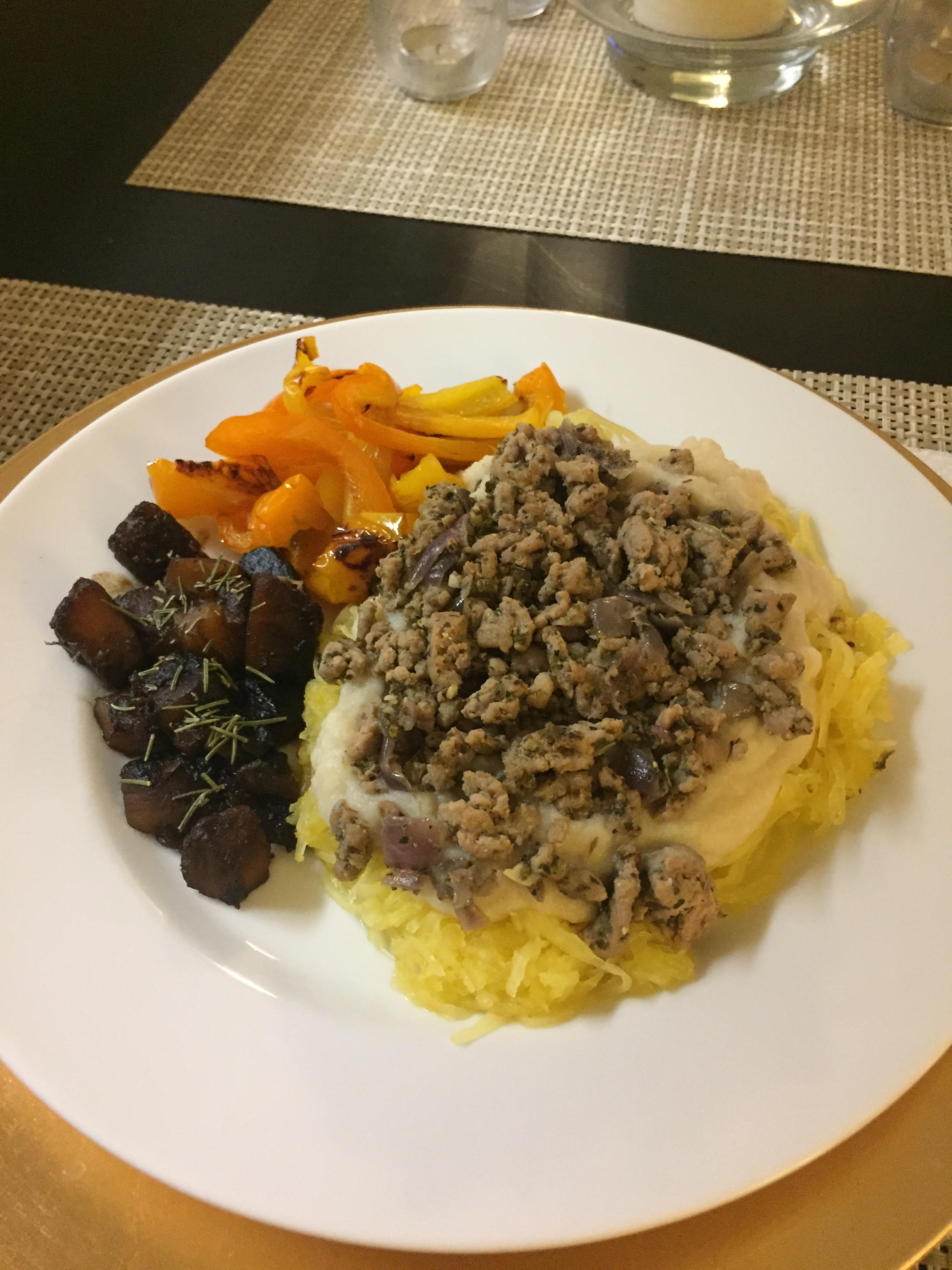 Cauliflower Alfredo Pasta w/ Ground Turkey - Paleo & Whole 30