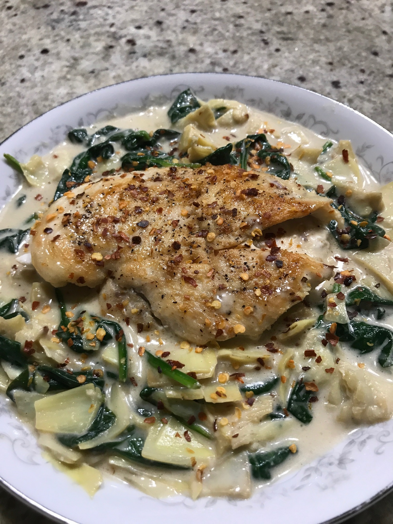 Chicken with Creamy Spinach Artichoke Sauce - Paleo & Whole 30