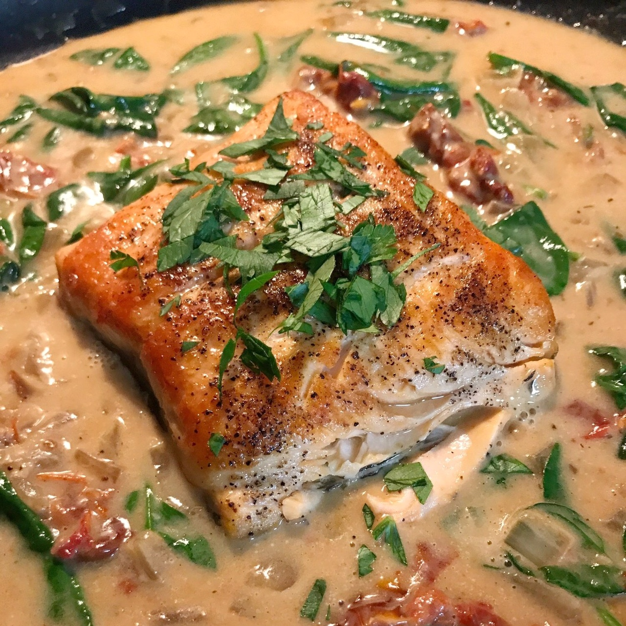 Creamy Garlic Tuscan Salmon - Paleo & Whole 30