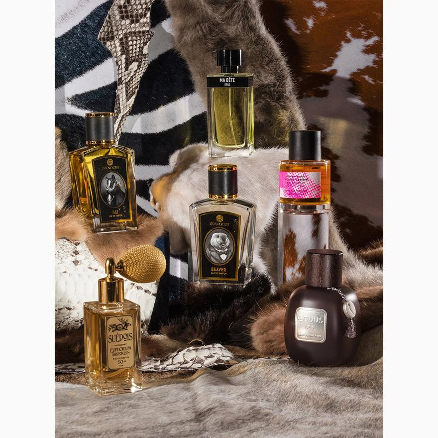 A bevy of modern animalic perfumes (clockwise from bottom left): Suédois by Euphorium Brooklyn, Bat by Zoologist, Ma Bête by Eris, Cadavre Exquis by Fazzolari & Gardoni, Equus by YeYe Parfums and Beaver by Zoologist. Credit: David Brandon Geeting for The New York Times.