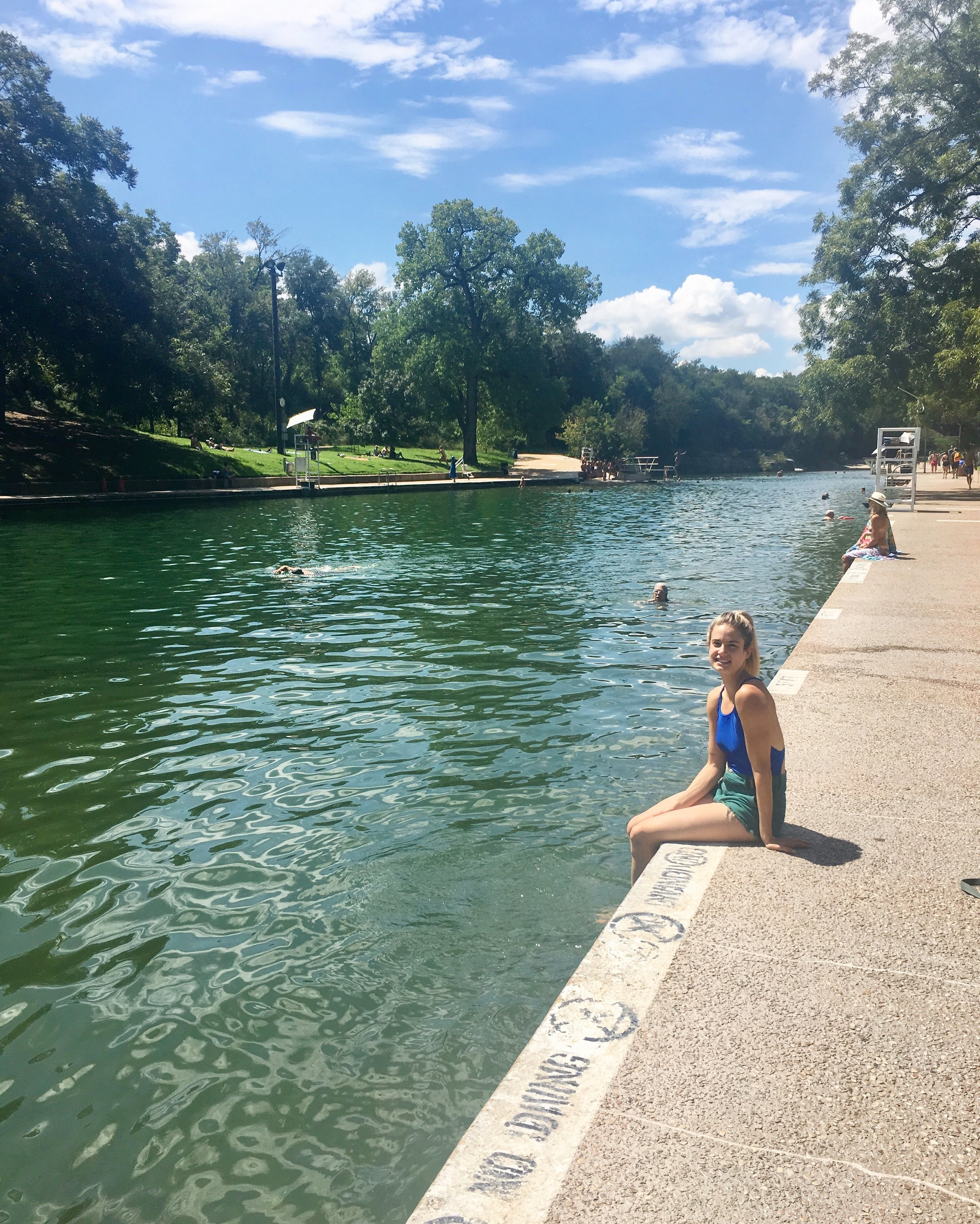 Me at Barton Springs - a 900 foot natural spring pool in the middle of Austin!