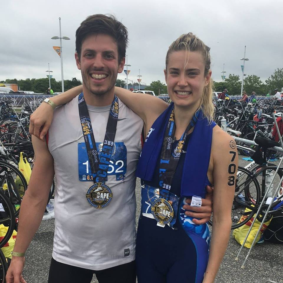 Rocking our first triathlon race together. Couple goals!