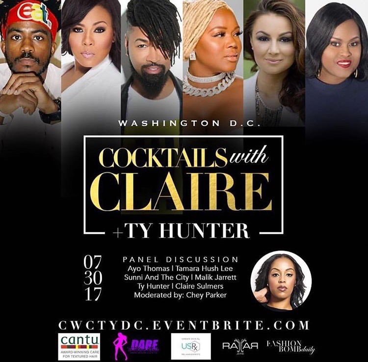 @cocktailswithclaire x @tytryone is coming to DC from 3-7 on Sunday, July 30th. Join us for drinks, nibbles, and an informative discussion featuring @clairesulmers, @tytryone, @sunniandthecity , @allhomage, @boutiquehush, and @ayoempowersyou. Get your tickets at CWCTYDC.eventbrite.com! This event is sponsored by @rayarjeans @daretohavehair_ @urbanskinrx and @cantubeauty. Interested in vending? Email events@fashionbombdaily.com