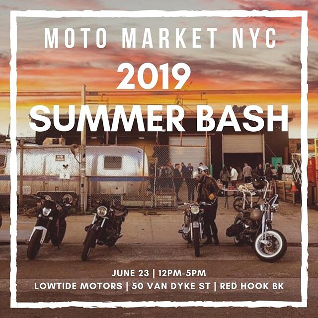 Third MotoMarket hosted by the wonderful folks @motomarketnyc ! Always an incredible event where you can find sweet deals. Very excited to be heading back to @lowtidemotors too! We'll have a table as always so stop on by!