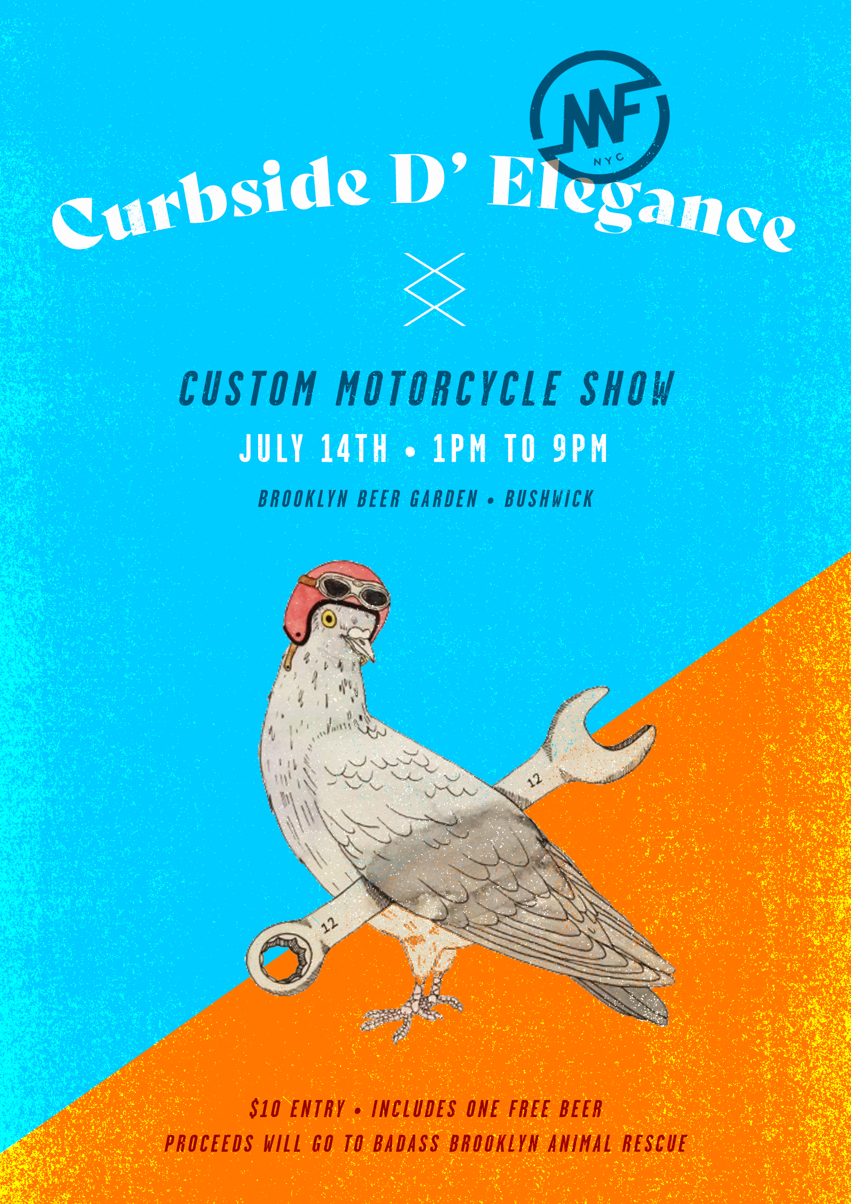 MotoFellas presents the Curbside D'Elegance custom bike show - July 14th at the Brooklyn Beer Garden in Bushwick. It is an inspiring exhibition of custom motorcycles created by variety of builders, expanding from backyard wrenchers to professional builders. Trophies will be given to best pro build, best amateur build and people's choice. Think your bike has what it takes? Submit your bike NOW! Accepting submissions from all professional and amateur builders in the North East! $10 covers your entry fee and your first beer. Proceeds will go to our furry friends at Badass Brooklyn Animal Rescue.