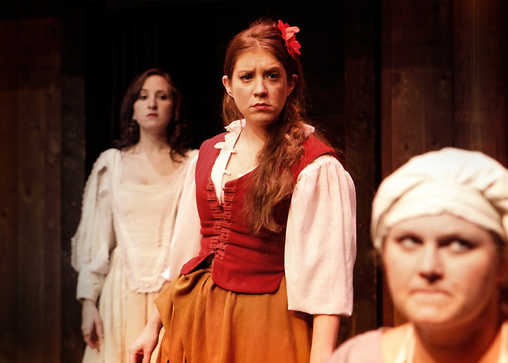 "Jaclyn Hofmann, Kelly Criss and Megan Rose-Houchins in ""Desdemona, a Play About a Handkerchief"""