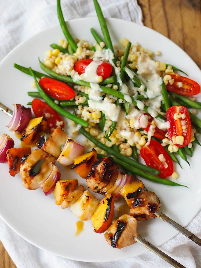 grilled chicken and peach kebabs