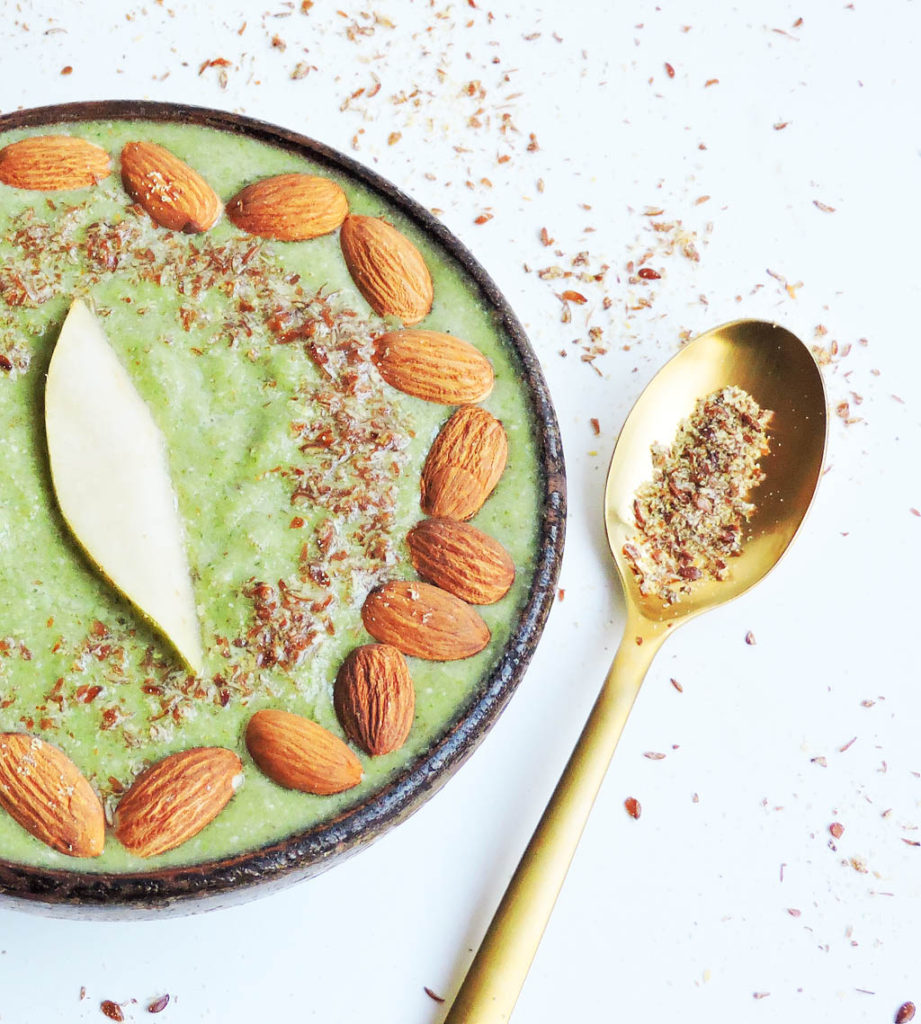 Creamy Vegan Pear & Kale Smoothie Bowl - Andrea Mathis, RD of Beautiful Eats & Things