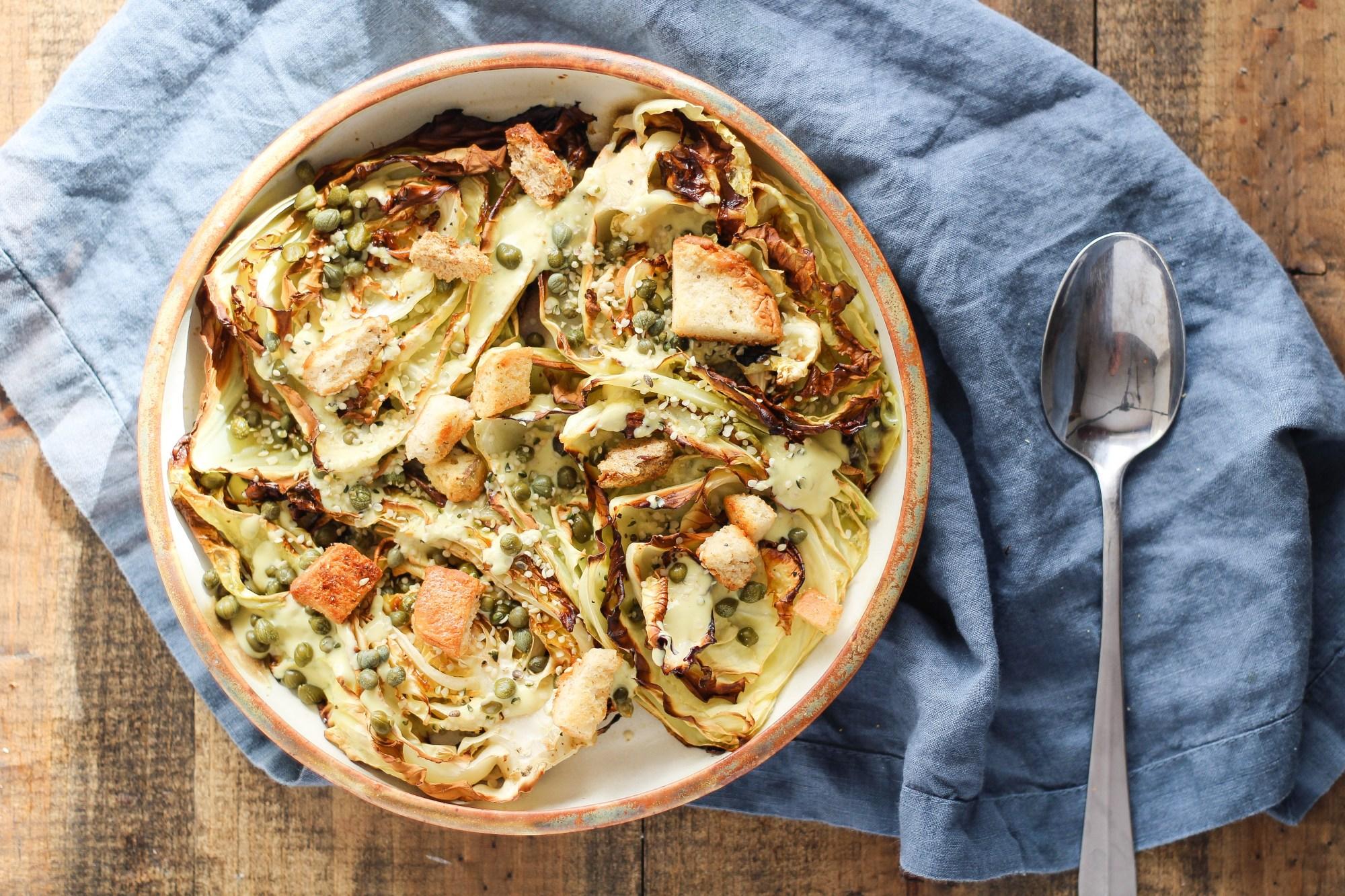 Vegan Roasted Cabbage Caesar Salad - Stephanie McKercher, RD of The Grateful Grazer