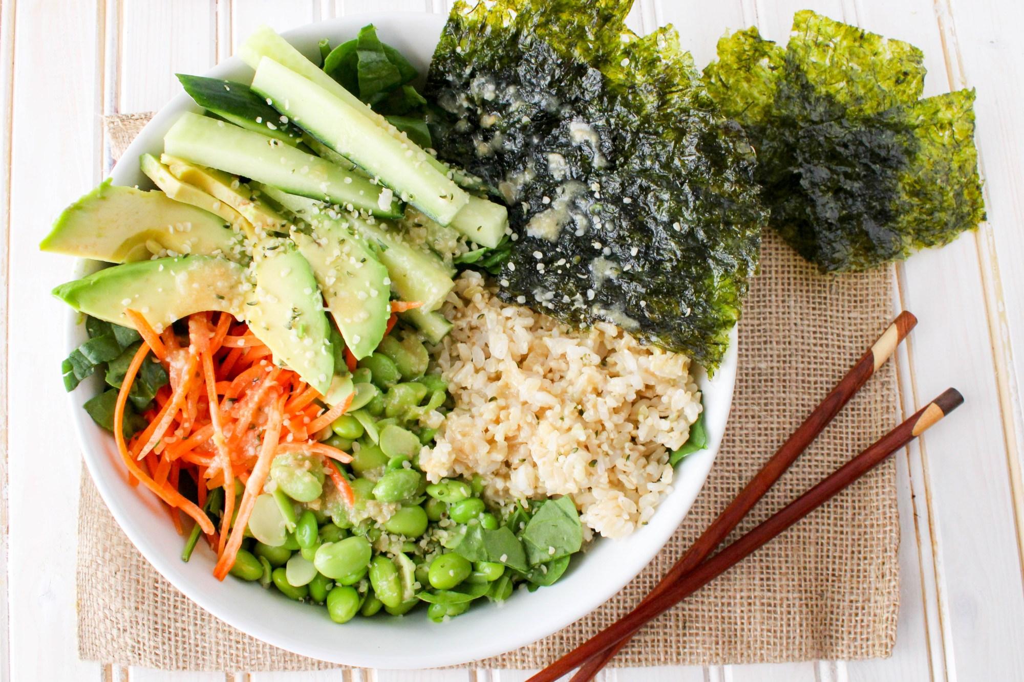 Vegan Deconstructed Sushi Salad Bowl with Sesame Ginger Miso Dressing - Stephanie McKercher, RD of The Grateful Grazer