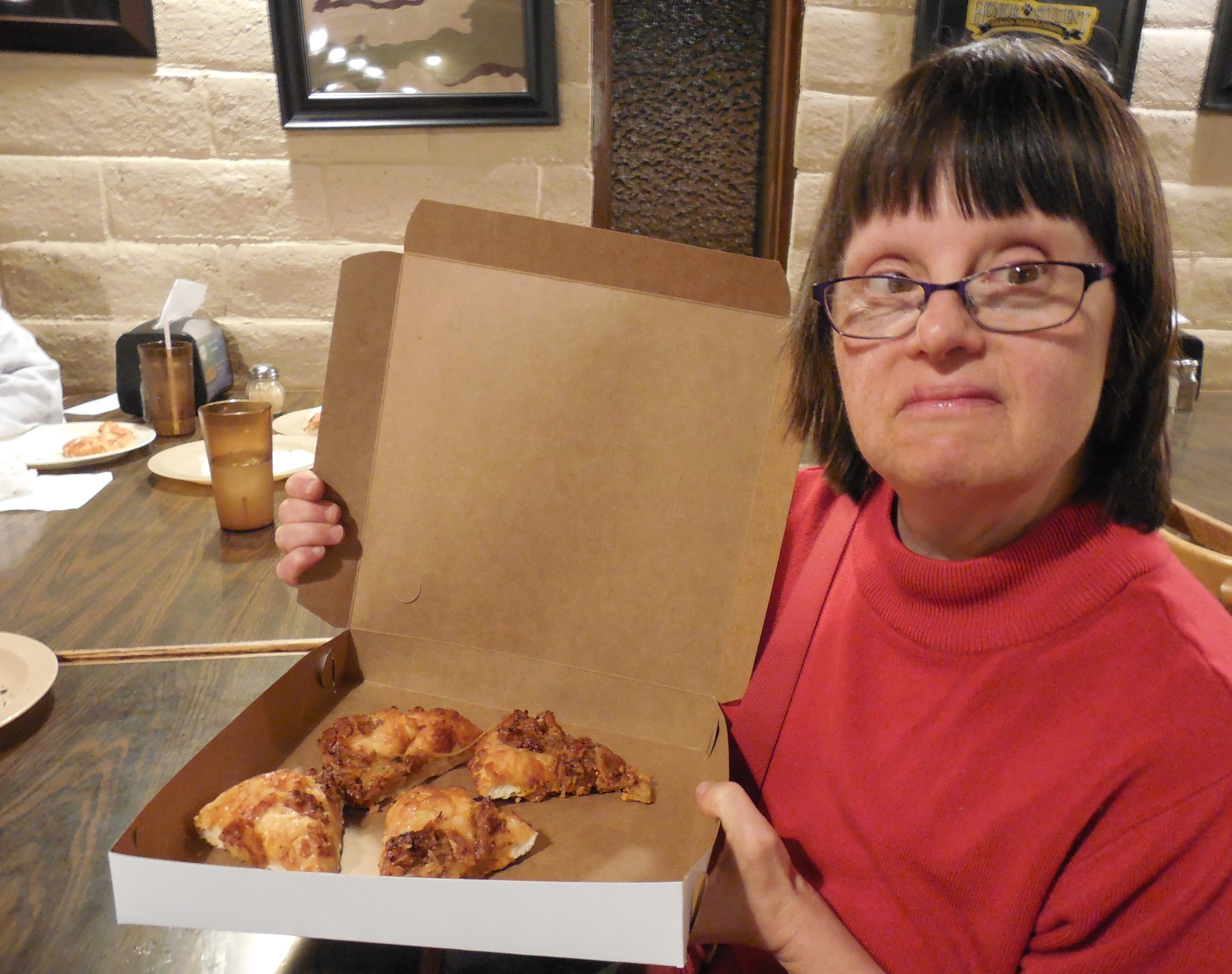 Diedre With Pizza on Game Night