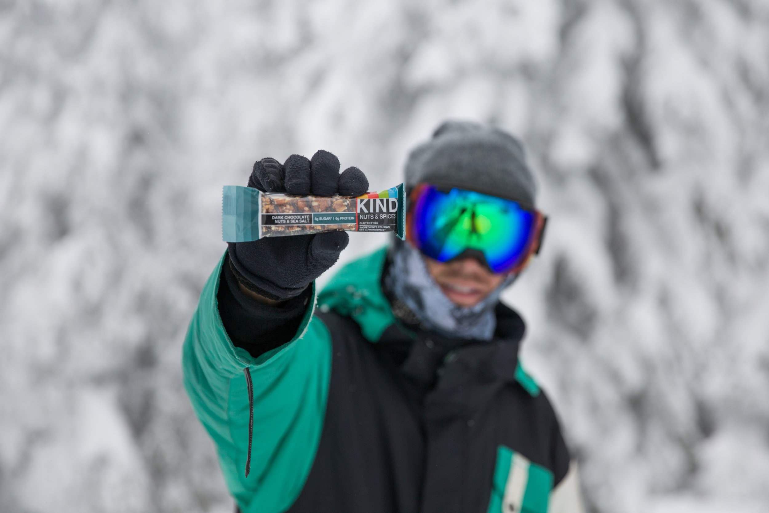 College students represented and handed out KIND Bars in the mountains this winter.