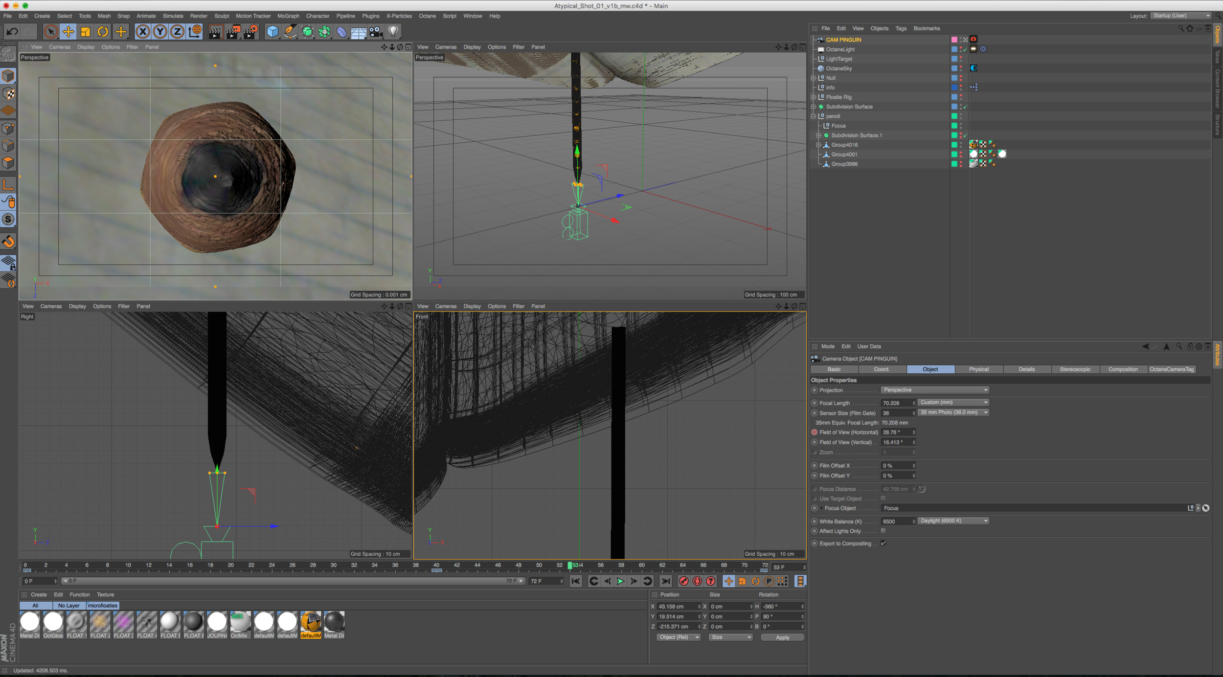 Pencil being animated in Cinema 4D.