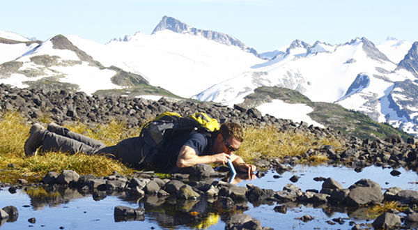 Drink-through filters like LifeStraw are light, effective personal systems, but can't be used to filter water for the group, or for purposes than personal hydration.