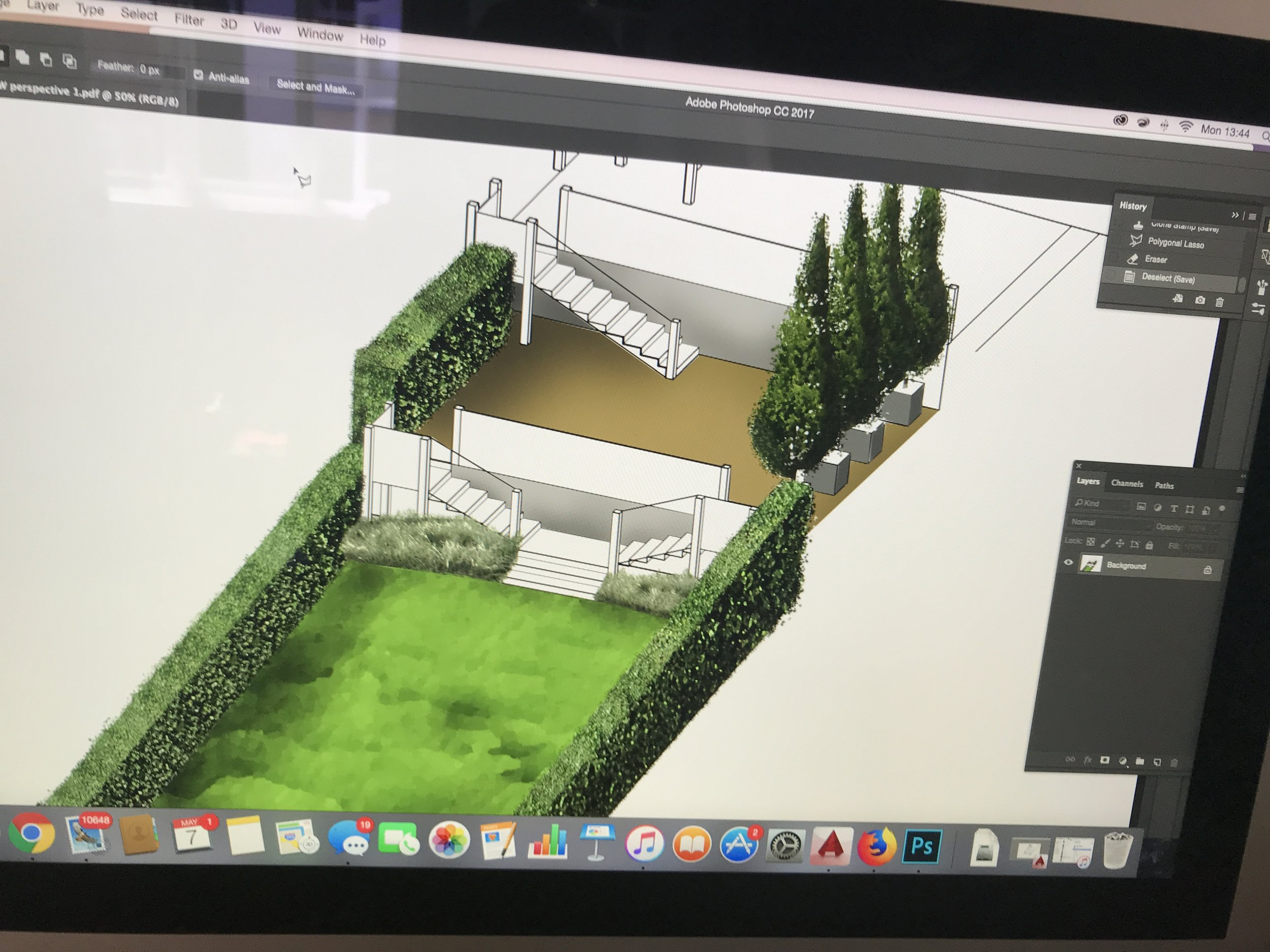 Another concept sketch for a garden in St Leonards with Col Turner Landscapes