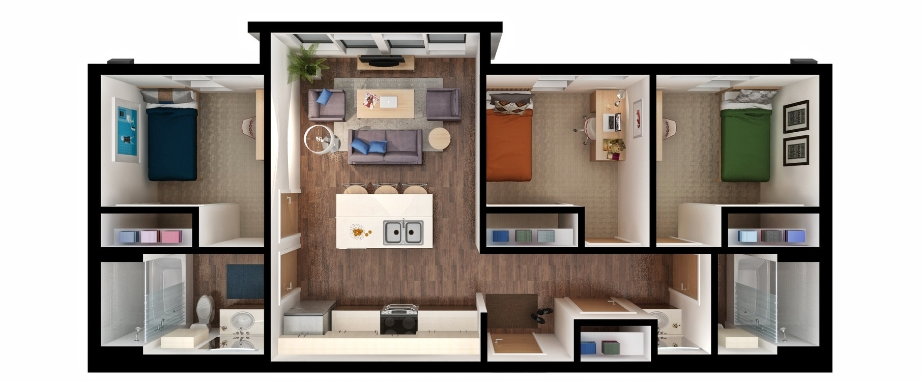 Three bedroom unit rendering
