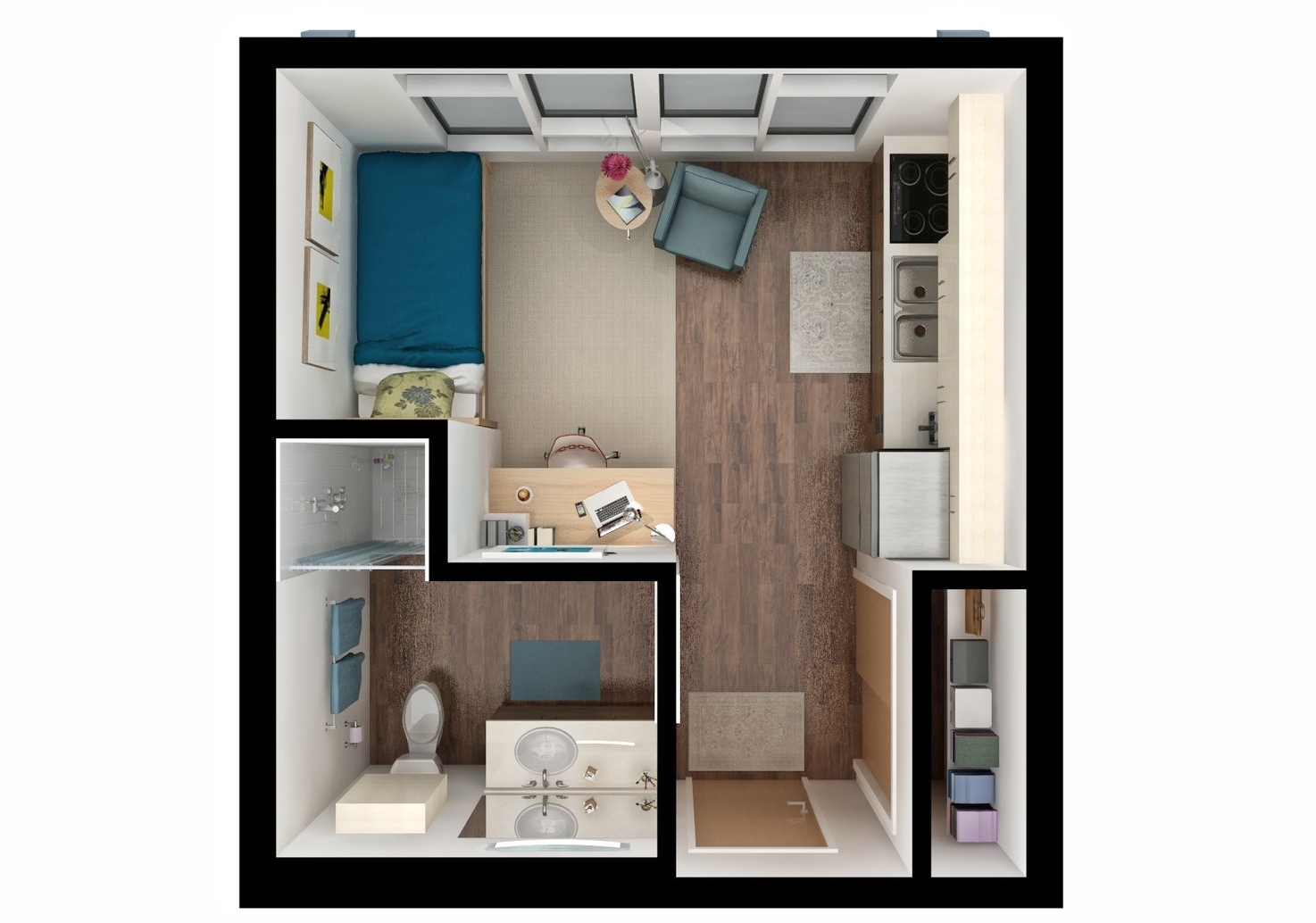 Studio bedroom rendering