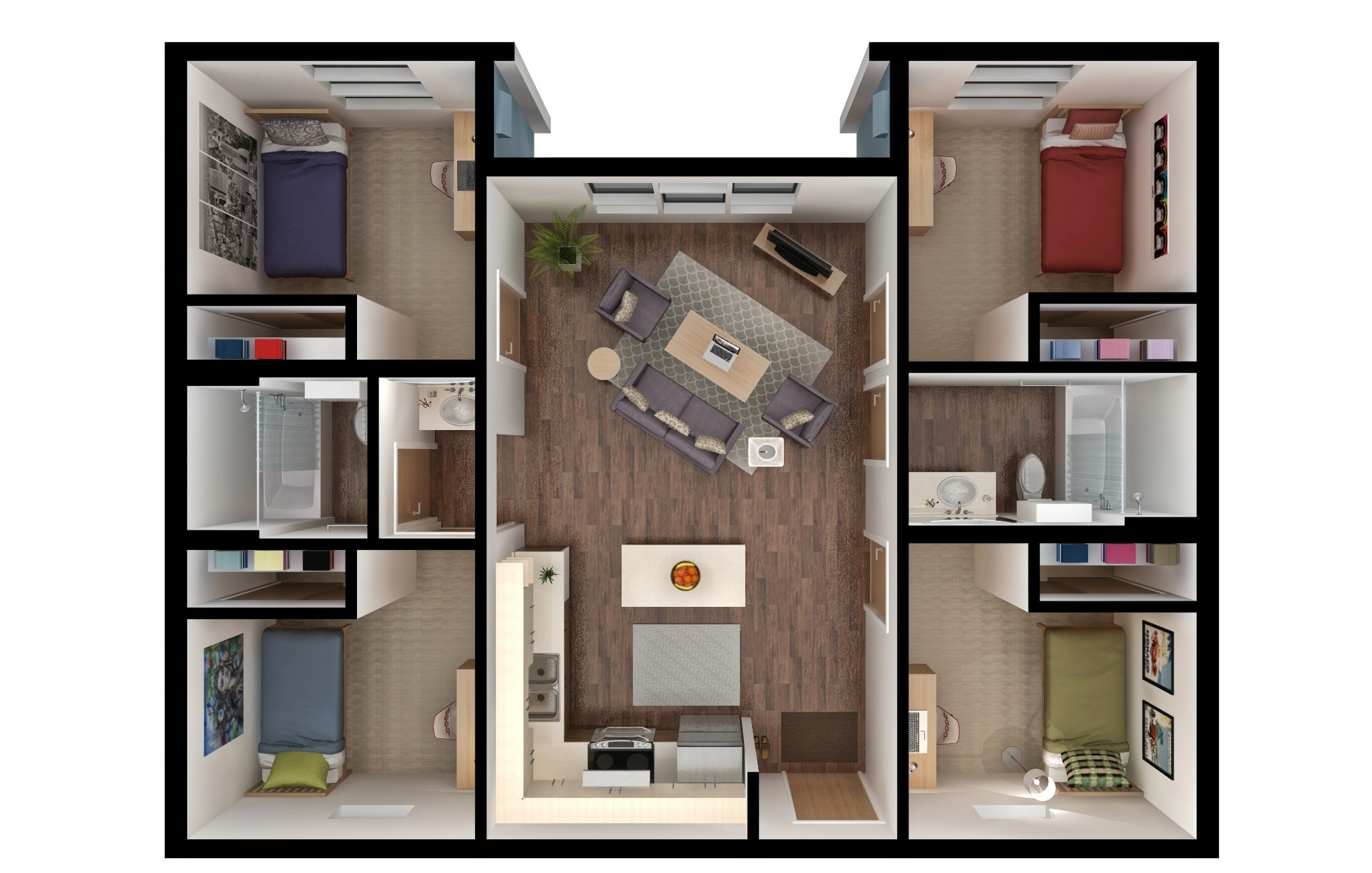 Four bedroom unit rendering