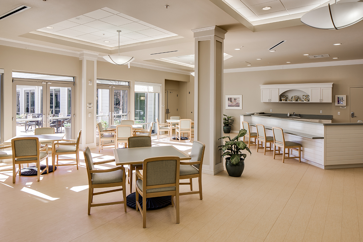 Memory Care dining area with bright and airy interior feel.