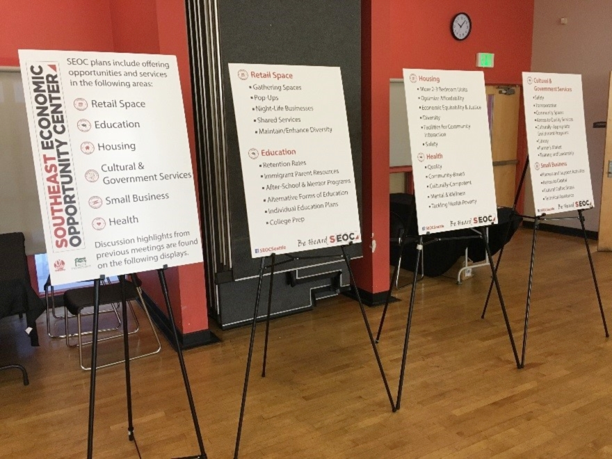Discussion highlights from previous meetings were displayed during the SEOC community meeting.   |   Photo by Joshua Janet