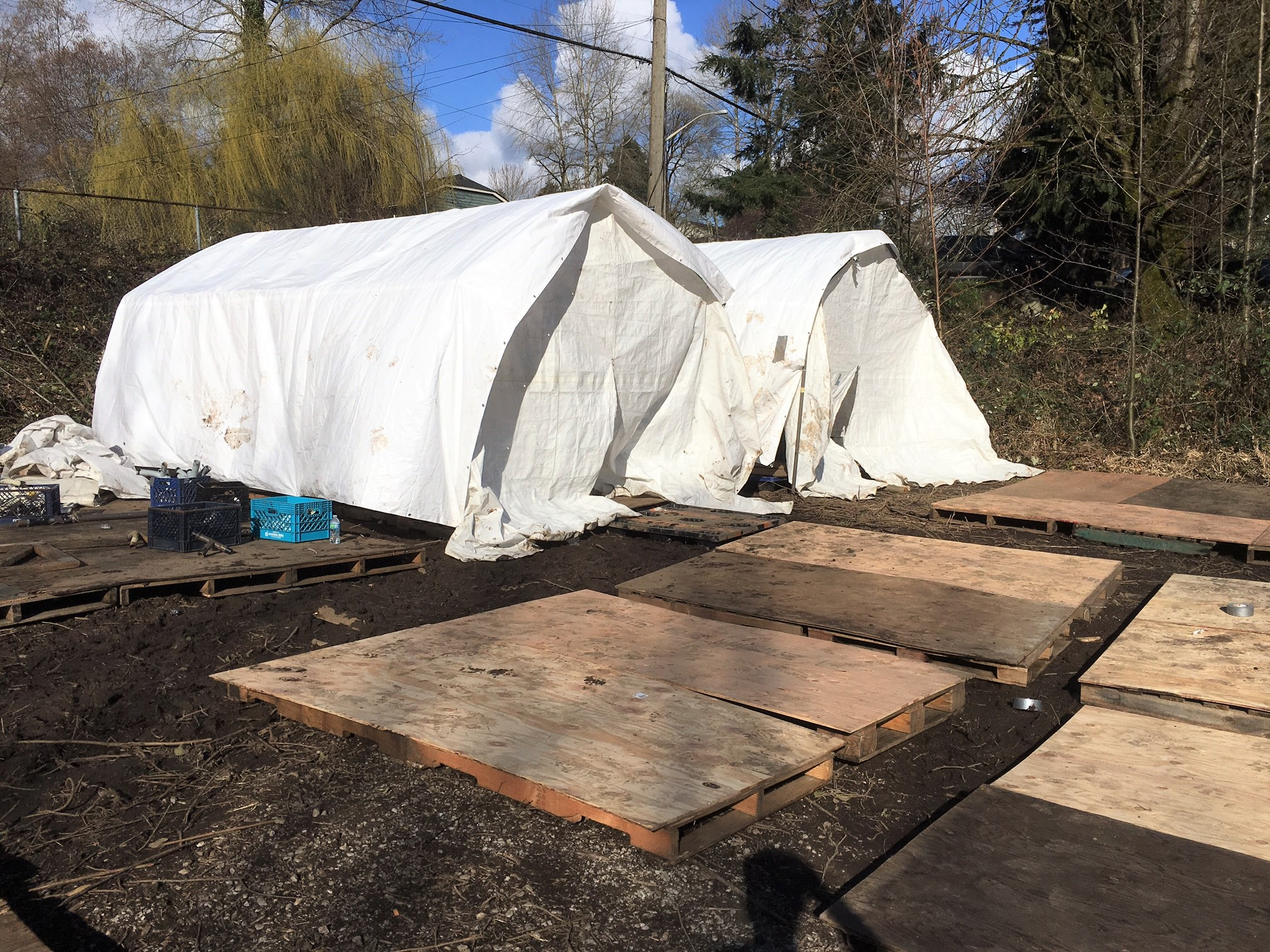 Work in progress of a tent encampment at south Seattle.   |   Photo by Josh Janet