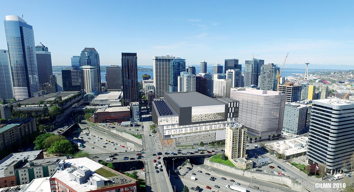 Proposed rendering of the WSCC expansion project.   |   Image by  LMN Architects  via  Seattle.gov