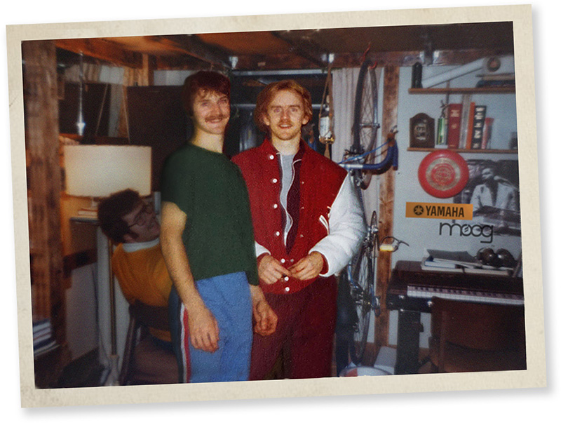 Ireland Hall dorm room, 1980; L to R: Joe Willet (in chair), Bob Kantor, Dan Kantor