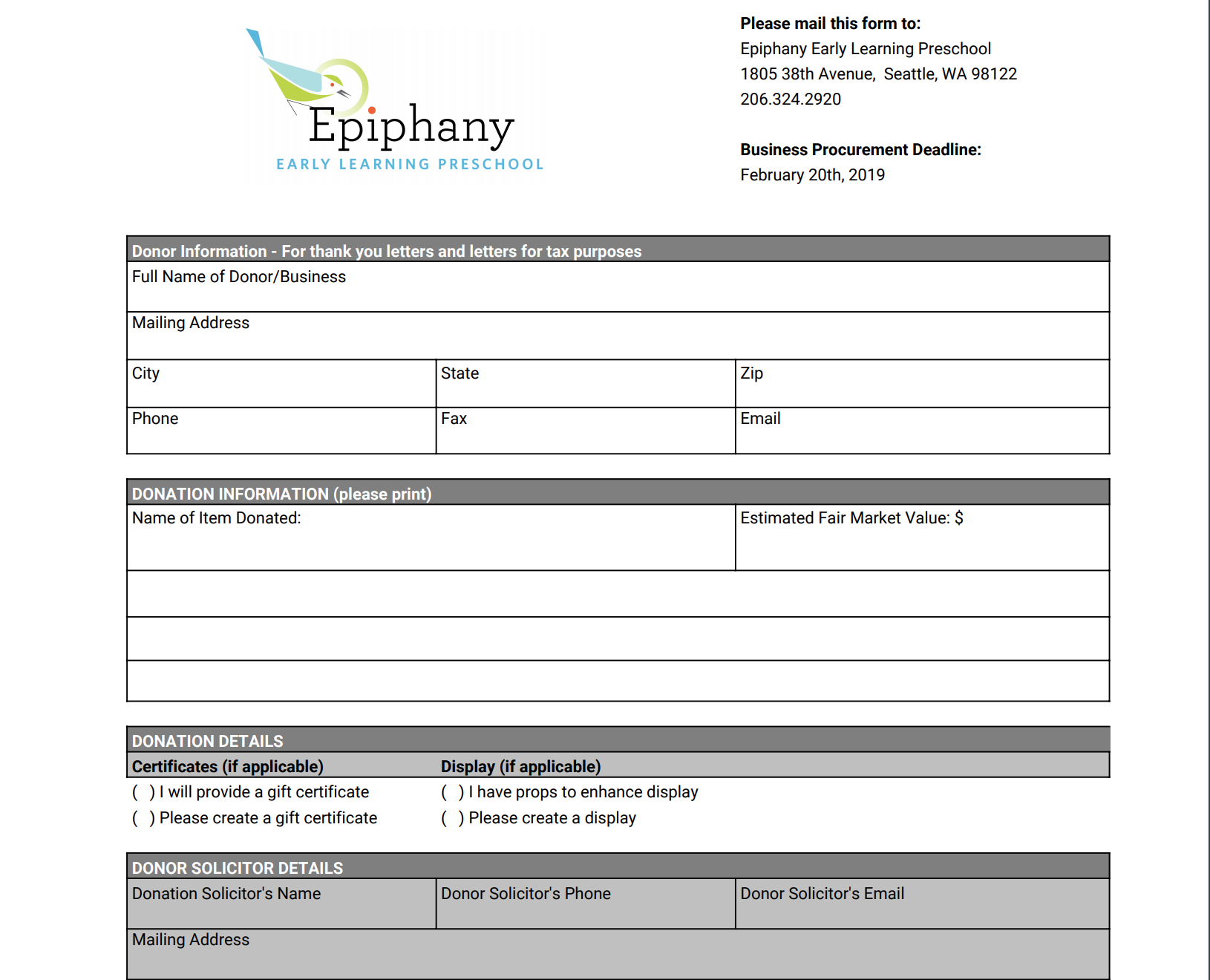 EELP Auction Business Procurement Form