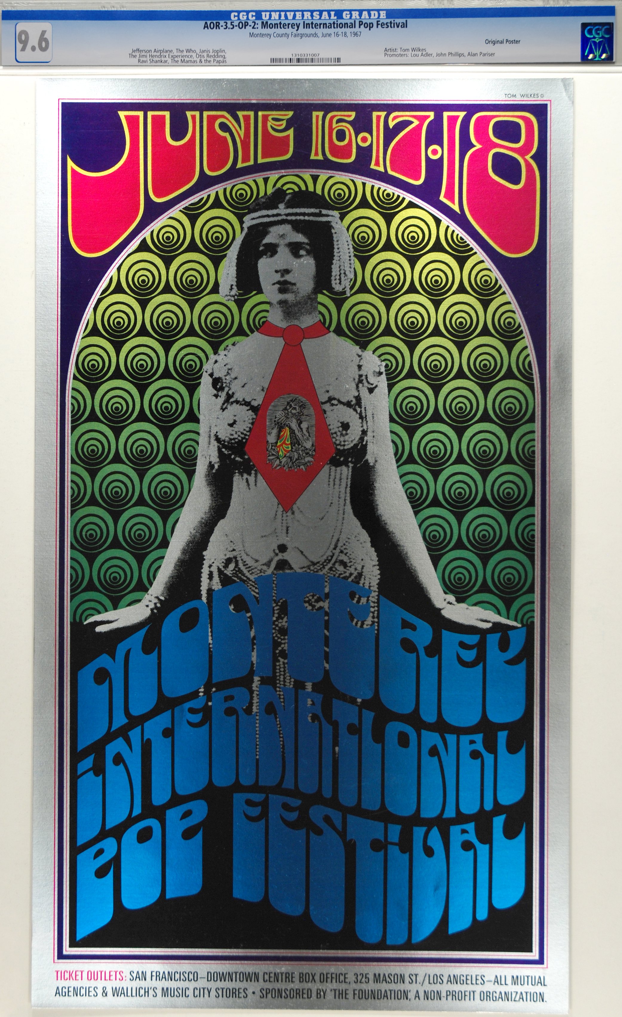 This beautiful Monterey International Pop Festival Concert poster CGC graded 9.6 sold for a record $4611 in our auction 2/17.